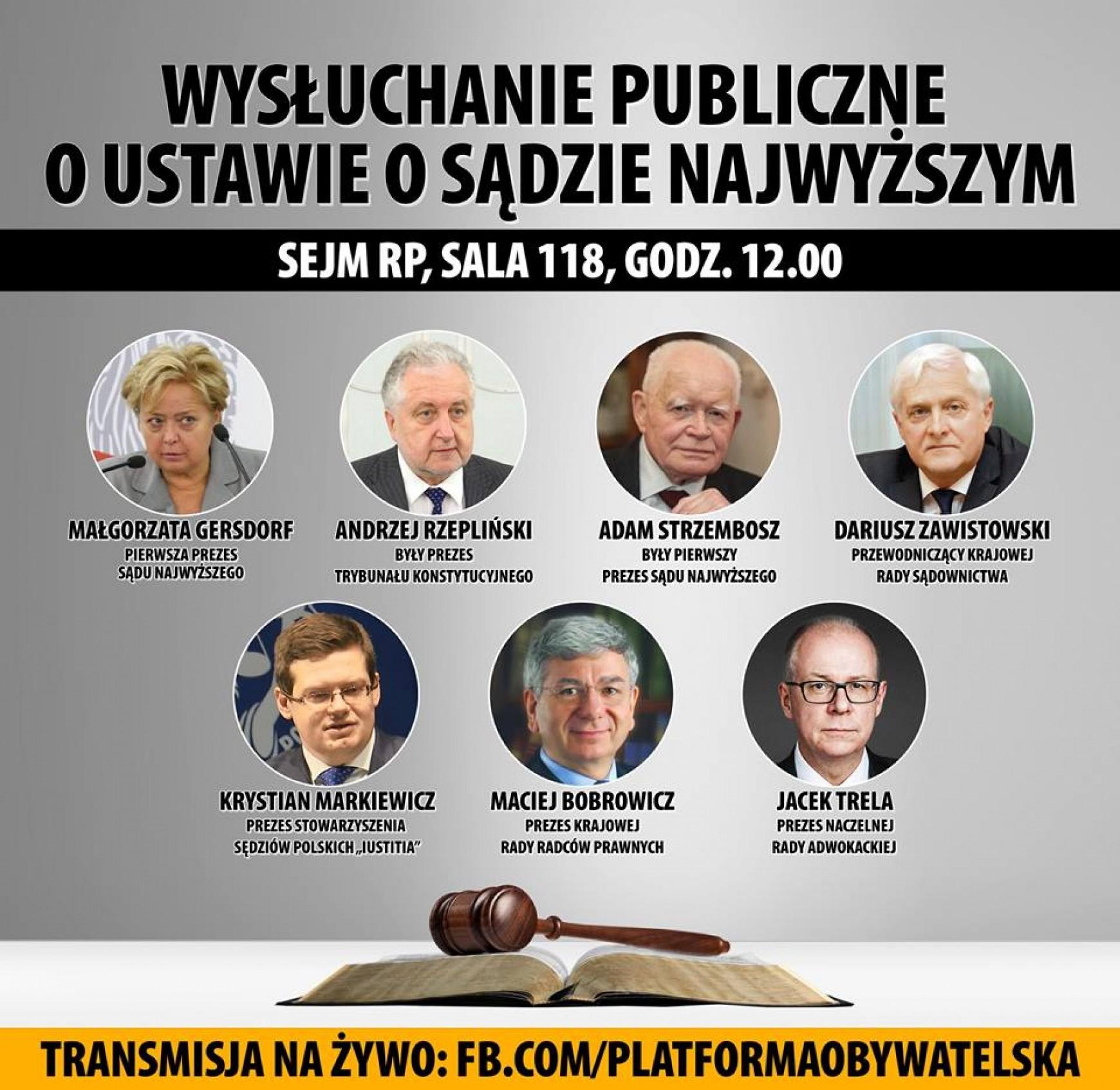 Wysłuchanie publiczne z udziałem autorytetów prawniczych ws. ustawy o Sądzie Najwyższym