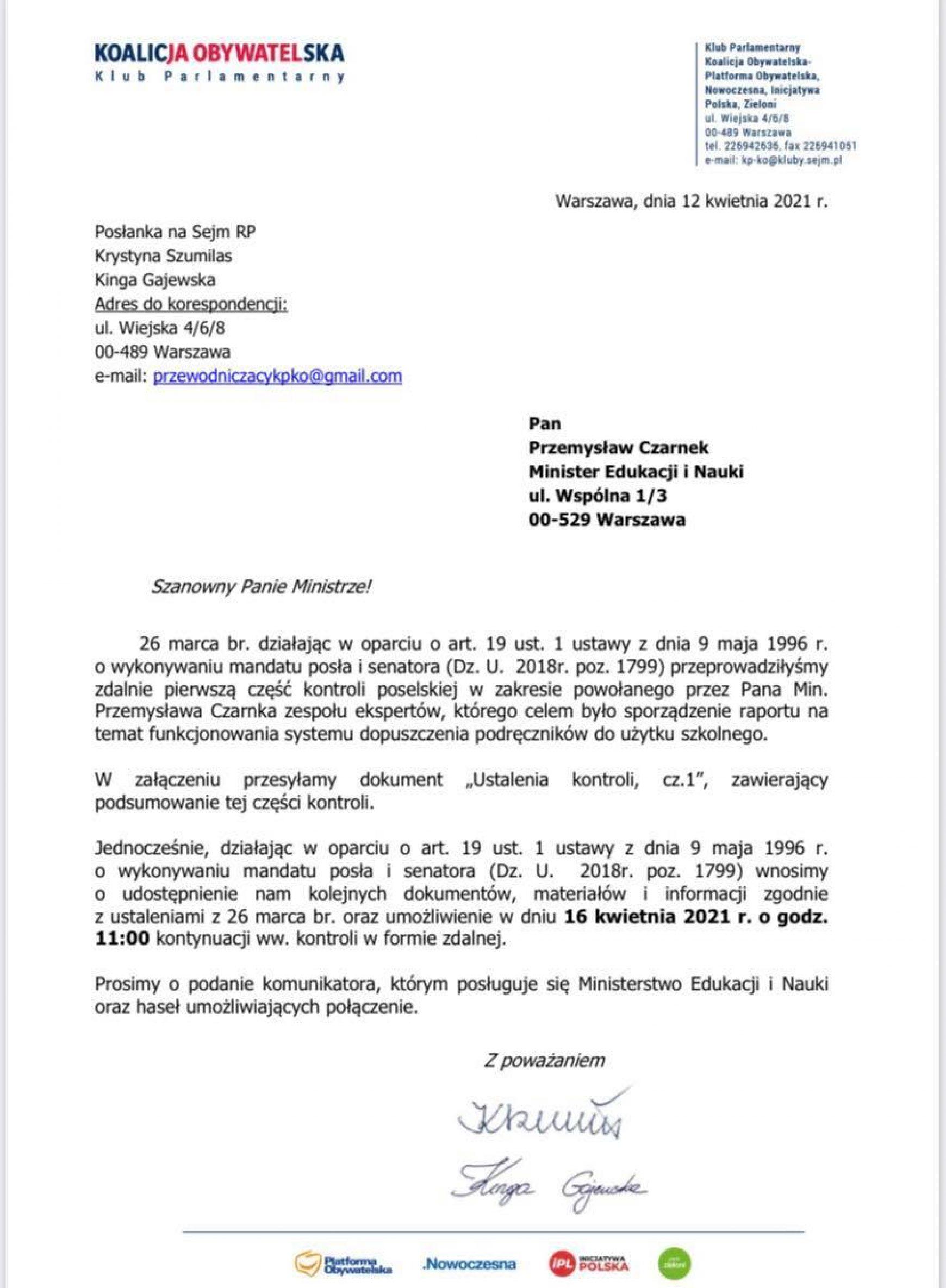 Kontrola poselska dot. powołania zespołu ekspertów, który miał ocenić system dopuszczania podr. do użytku szkolnego